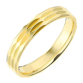9ct Yellow Gold 4mm Triple Row Faceted Wedding Ring - Product number 2638673