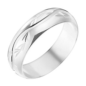 9ct White Gold 5mm Wave Pattern Wedding Ring - Product number 2639033