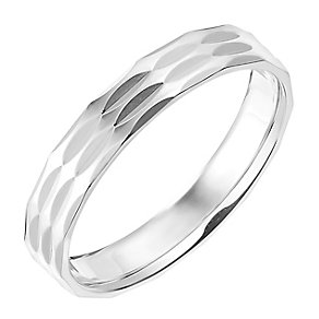 9ct White Gold 4mm Triple Row Faceted Wedding Ring - Product number 2639378