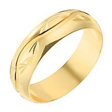9ct Yellow Gold 5mm Wave Pattern Wedding Ring - Product number 2639521