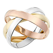 9ct Gold 3mm 3 Colour Russian Ring - Product number 2639653