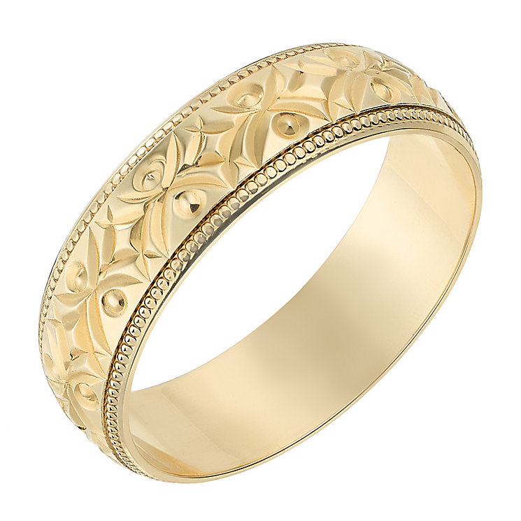 9ct Yellow Gold 6mm Crossover Patterned Wedding Ring - Product number 2639793
