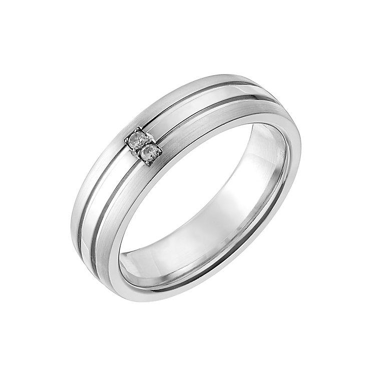 Cobalt 6mm Diamond Set Matt & Polish Groove Ring - Product number 2639955