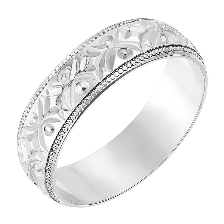 9ct white gold 6mm crossover patterned wedding ring h samuel