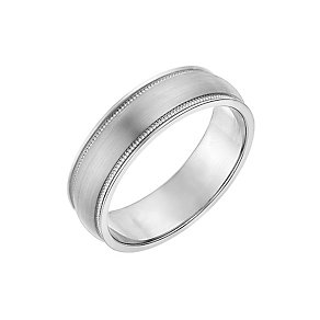 Palladium 500 Matt & Polish Milgrain Detail 6mm Wedding Ring - Product number 2640309