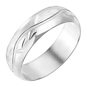 9ct White Gold 6mm Wave Pattern Wedding Ring - Product number 2640635