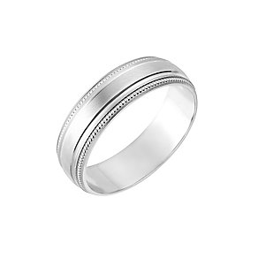 9ct White Gold 6mm Milgrain Wedding Ring - Product number 2640791