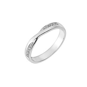 9ct White Gold Diamond Set Crossover Wedding Ring - Product number 2640953