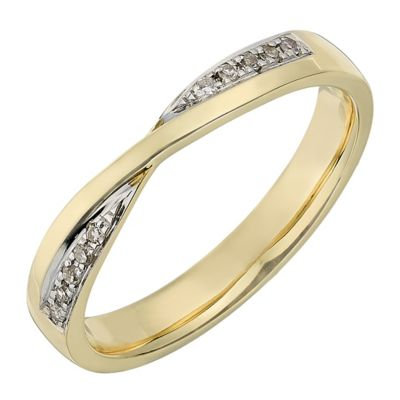 9ct Yellow Gold Crossover Diamond Set Wedding Ring HSamuel