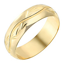 9ct Yellow Gold 6mm Wave Pattern Wedding Ring - Product number 2641313