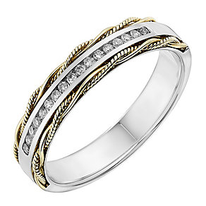 9ct Two Colour Gold Woven Detail Diamond Set Wedding Ring - Product number 2641488