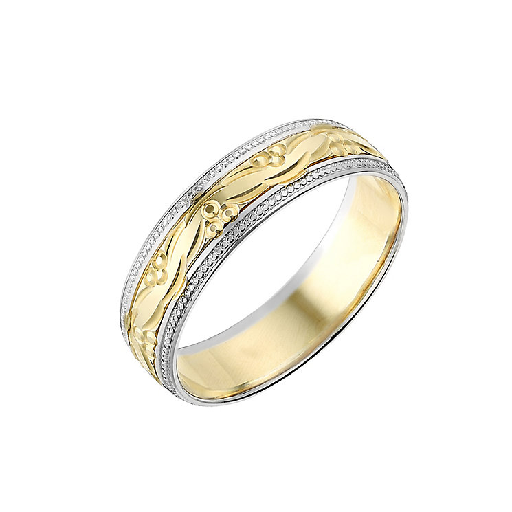 9ct Gold Two Colour 6mm Patterned Wedding Ring - Product number 2641771
