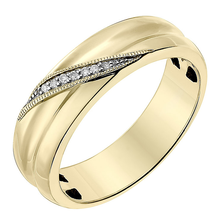 9ct Yellow Gold 5mm Diagonal Diamond Set Wedding Ring - Product number 2641941