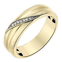 9ct Yellow Gold 5mm Diagonal Diamond Set Wedding Ring - Product number 2641941