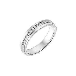 9ct White Gold Matt & Polished Diamond Set Wedding Ring - Product number 2642115