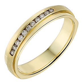 9ct Yellow Gold Matt & Polished Diamond Set Wedding Ring - Product number 2642247