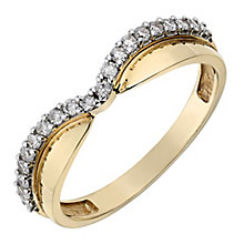 9ct Yellow Gold Wish Bone Shaped Diamond Wedding Ring - Product number 2642549