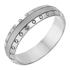 Palladium 950 Matt & Polish Patterned 5mm Wedding Ring - Product number 2643006