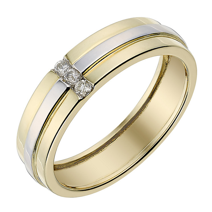 9ct two colour gold diamond set 5mm wedding ring hsamuel for 9ct gold wedding ring sets