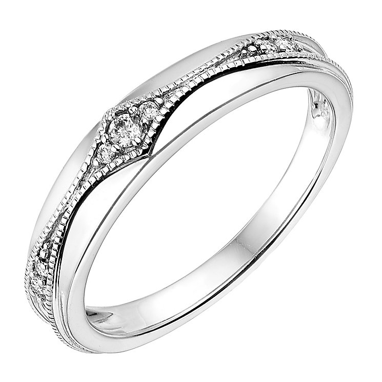 18ct White Gold Diamond Set Milgrain Pattern Wedding Ring - Product number 2643332