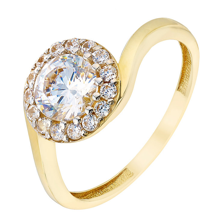 9ct Yellow Gold & Round Cubic Zirconia Halo Ring - Product number 2644088