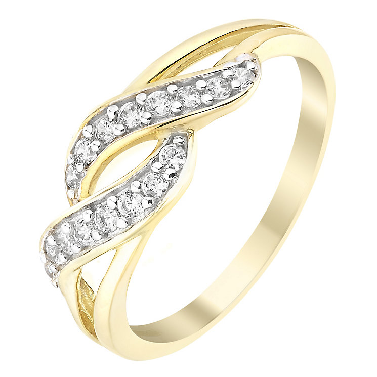 9ct Yellow Gold & Cubic Zirconia Wave Detail Ring - Product number 2644223