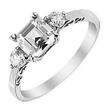 9ct White Gold Asscher Cut Cubic Zirconia Ring - Product number 2644517