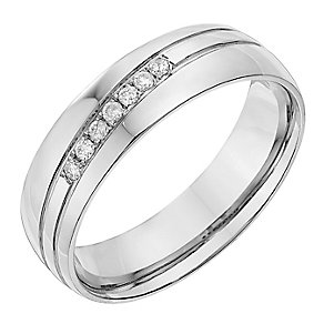 Palladium 950 6mm Diamond Set Groove Wedding Ring - Product number 2644657