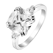 9ct White Gold Cushion Cut Cubic Zirconia Ring - Product number 2644827