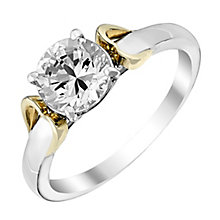 Silver & 9ct Yellow Gold Heart Detail Cubic Zirconia Ring - Product number 2645254