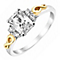 Silver & 9ct Yellow Gold Emerald Cut Cubic Zirconia Ring - Product number 2645394