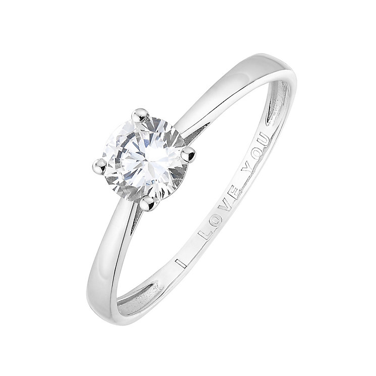 9ct White Gold & Cubic Zirconia I Love You Ring - Product number 2645661