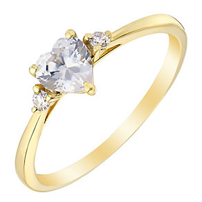 9ct Yellow Gold Heart Shaped Cubic Zirconia Ring - Product number 2645955