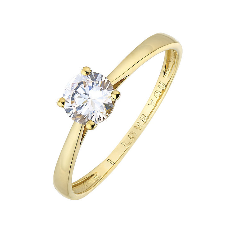 9ct Yellow Gold & Cubic Zirconia I Love You Ring - Product number 2646102