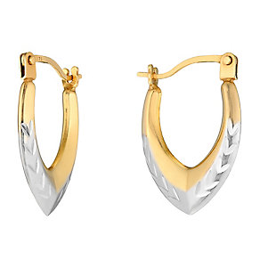 9ct Yellow Gold Diamond Cut Oval Creole Earrings - Product number 2646544