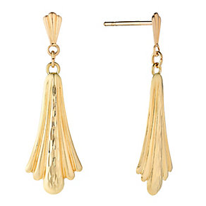 9ct Yellow Gold Diamond Fan Drop Earrings - Product number 2646552