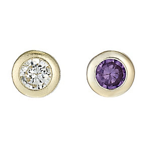 9ct Yellow Gold Amethyst & Cubic Zirconia Nose Stud Duo Set - Product number 2646579