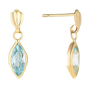 9ct Yellow Gold & Blue Topaz Marquise Drop Earrings - Product number 2646595
