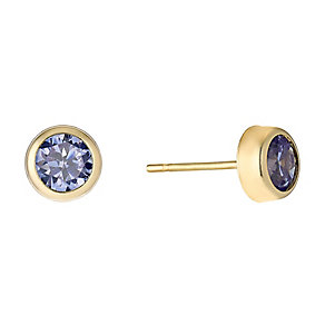 9ct Yellow Gold & Lavender Cubic Zirconia Stud Earrings - Product number 2646609