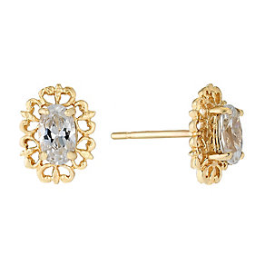 9ct Yellow Gold & Cubic Zirconia Oval Vintage Stud Earrings - Product number 2646617