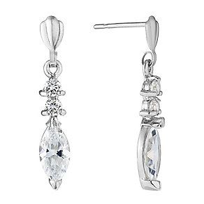 9ct White Gold Marquise Cubic Zirconia Drop Earrings - Product number 2646633