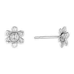 9ct White Gold & Cubic Zirconia Flower Stud Earrings - Product number 2646641