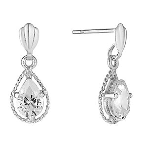 9ct White Gold Teardrop Cubic Zirconia Drop Earrings - Product number 2646668