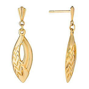 9ct Yellow Gold Diamond Cut Oval Drop Earrings - Product number 2646684