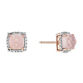 9ct Rose Gold Rose Quartz & Cubic Zirconia Stud Earrings - Product number 2646714