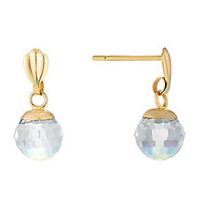 9ct Yellow Gold Aurore Faceted Crystal Drop Earrings - Product number 2646722