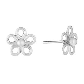 9ct White Gold Daisy Stud Earrings - Product number 2646757