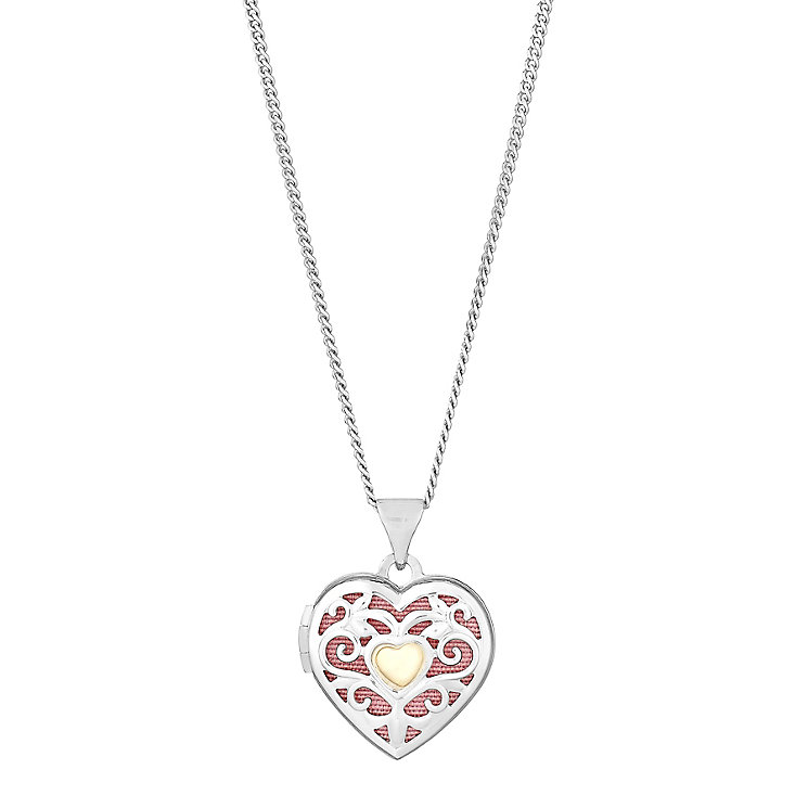 Silver & 9ct Yellow Gold Cut Away Swirl Heart Locket - Product number 2646765