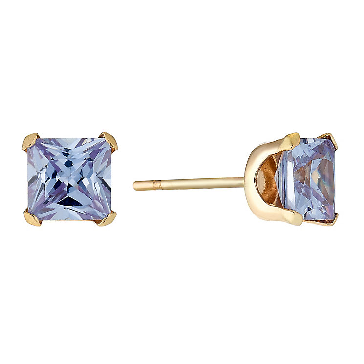 9ct Yellow Gold & Square Cubic Zirconia 5mm Stud Earrings - Product number 2646773