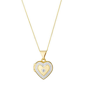9ct Yellow Gold & Cubic Zirconia 10mm Petite Heart Locket - Product number 2646781